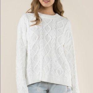 Women's POL Snow White Knit Fleece Sweater